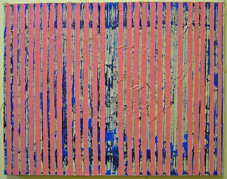Untitled Pink Stripes by Ann Chisholm. Mixed media Ink and acrylic on canvas.   Communication or communicating is a theme in Ann Chisholm's work, especially in the collages. She uses words, numbers, and symbols to give visual hints. Morse Code is an