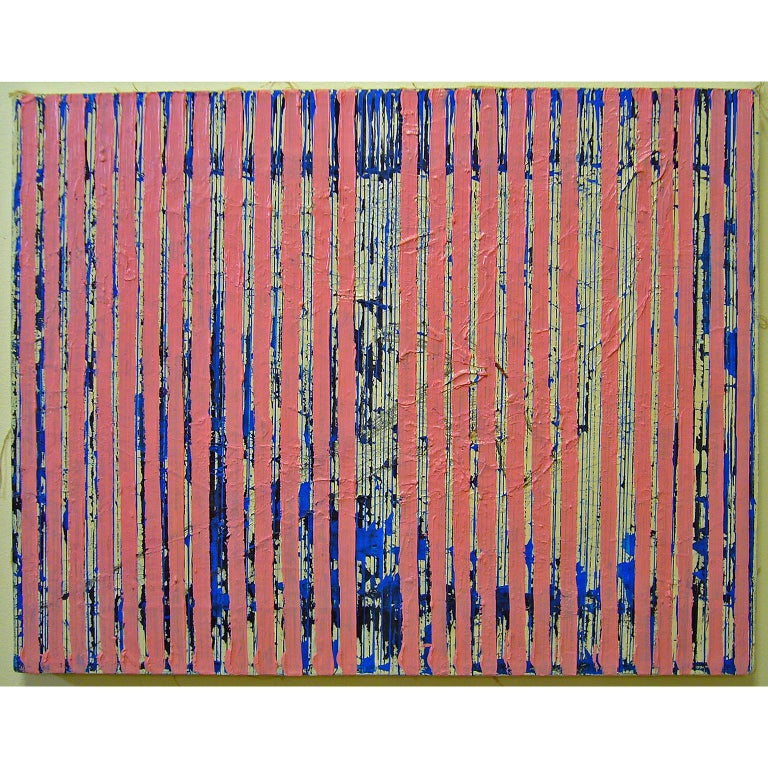 Untitled Pink Stripes, 2004, ink and acrylic on canvas, by Ann Chisholm. For Sale 1