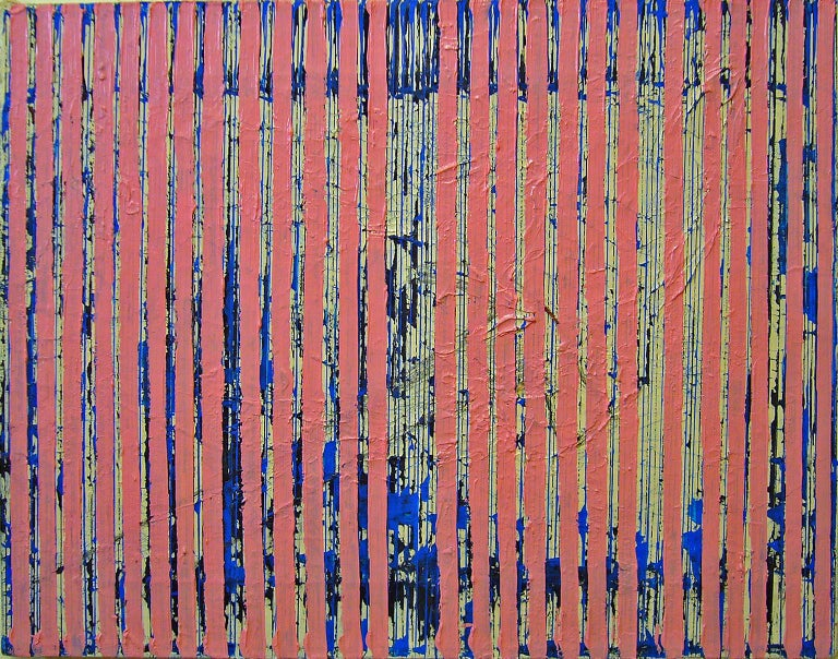 Untitled Pink Stripes, 2004, ink and acrylic on canvas, by Ann Chisholm. For Sale 2