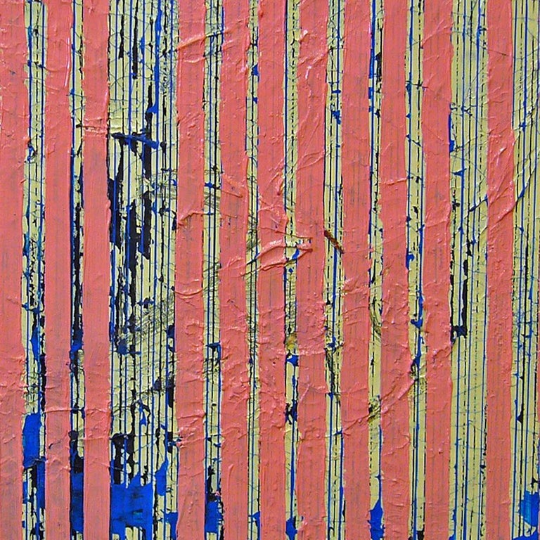 Untitled Pink Stripes, 2004, ink and acrylic on canvas, by Ann Chisholm. For Sale 3