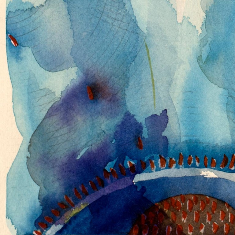 Blue Universe by Lori Fox. Blues, red and yellow abstract watercolor on paper For Sale 2