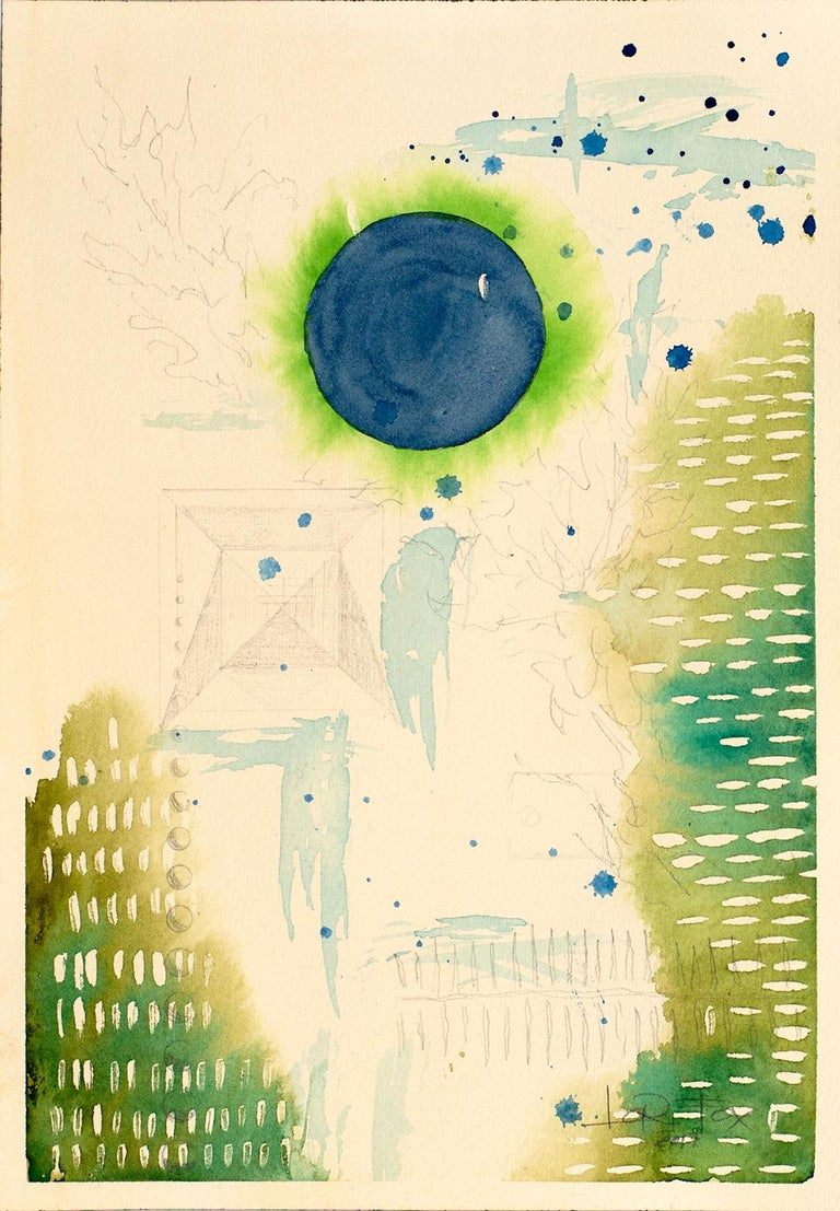 Green Universe, 2017 by Lori Fox Watercolor and graphite on paper 10.35 x 7.125 inch  Unframed Original  This series explores the reflection of our third dimensional world through the 3 colors our eyes are programmed to see: red, green, and blue.