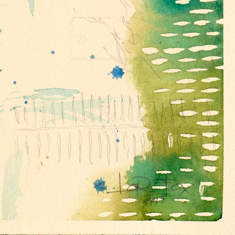 Green Universe by Lori Fox. Green and blue hues watercolor and graphite on paper For Sale 4