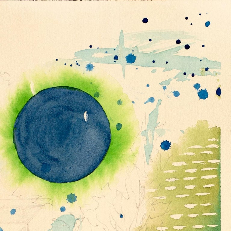 Green Universe by Lori Fox. Green and blue hues watercolor and graphite on paper For Sale 3