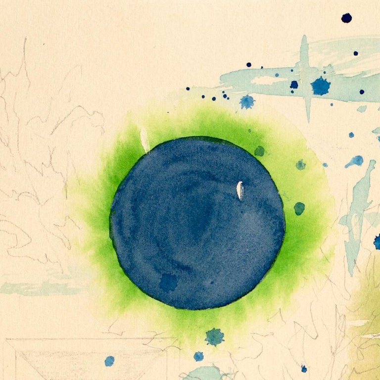 Green Universe by Lori Fox. Green and blue hues watercolor and graphite on paper For Sale 1
