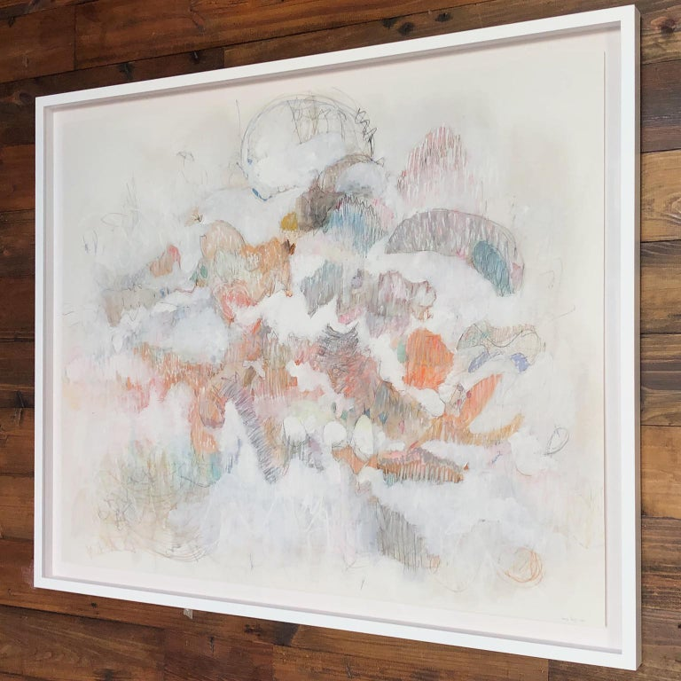 White on Scribbles 1. Abstract mixed medium drawing by architect Bang Dang, 2017 - Art by Bang Dang