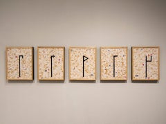 c.r.e.a.m. by Ann Chisholm. Paper and ink on canvas. Numbers letter ciphers