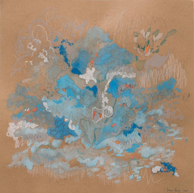 """Blue Tango by Bang Dang Watercolor, ink, graphite, color pencil, pastels and markers on brown paper. 12 x 12 inches unframed 15.25 x 15.25 x 1.75 inches with Frame. Professionally float framed with white frame and 1"""" mat.   Bang Dang's work is a"""