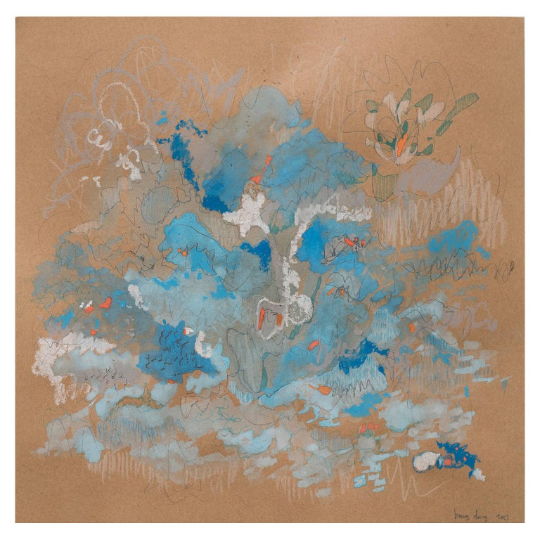 Blue Tango by Bang Dang. Abstract drawing. Blue and pastel hues on brown paper For Sale 1
