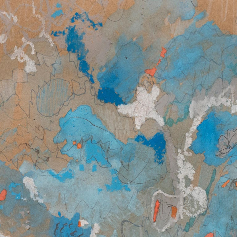 Blue Tango by Bang Dang. Abstract drawing. Blue and pastel hues on brown paper For Sale 2