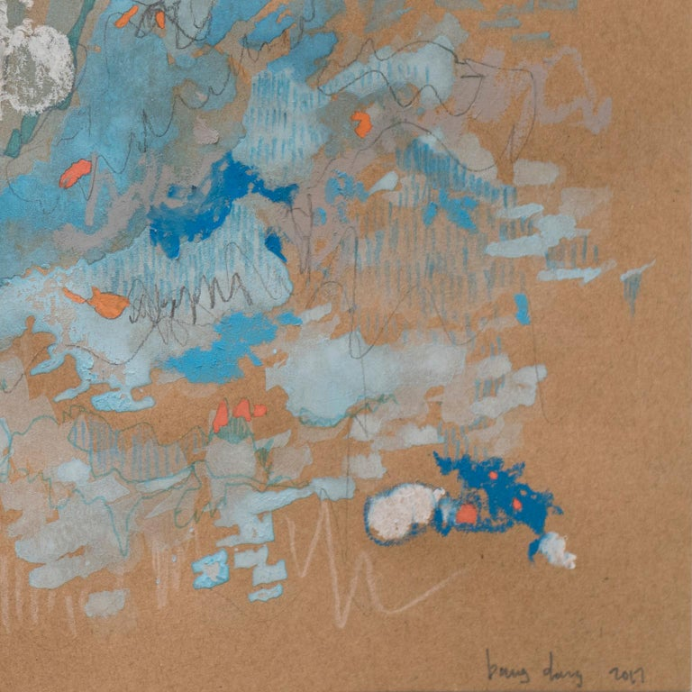 Blue Tango by Bang Dang. Abstract drawing. Blue and pastel hues on brown paper For Sale 3