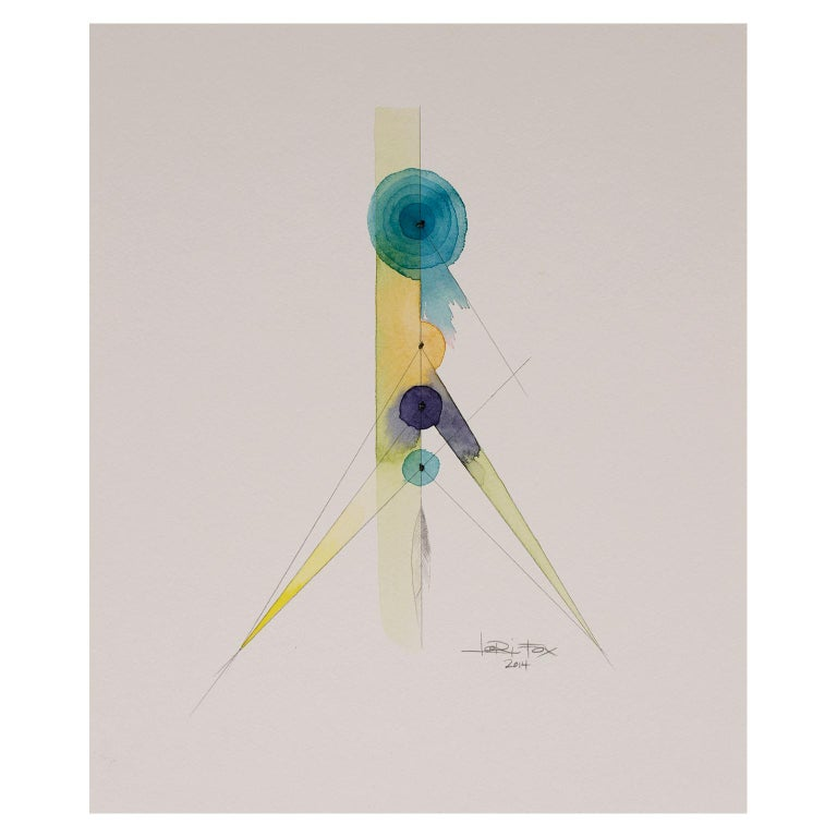 Totem 2.002 by Lori Fox. Blue, yellow abstract watercolor and graphite on paper For Sale 1