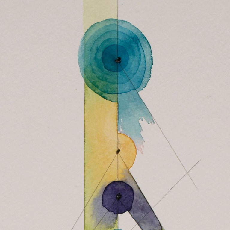 Totem 2.002 by Lori Fox. Blue, yellow abstract watercolor and graphite on paper For Sale 3