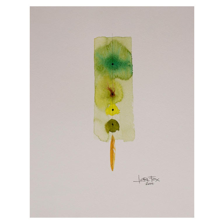 Totem 001 by Lori Fox. Green and yellow hues abstract watercolor and graphite For Sale 1