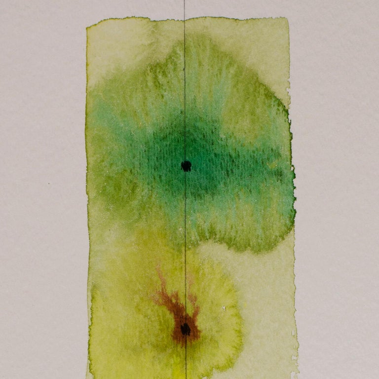 Totem 001 by Lori Fox. Green and yellow hues abstract watercolor and graphite For Sale 2