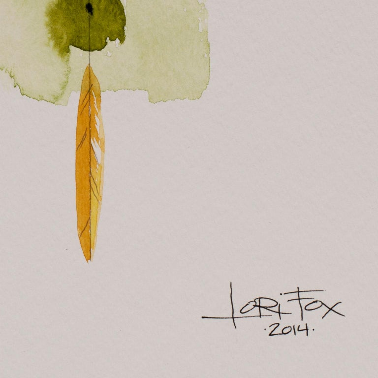 Totem 001 by Lori Fox. Green and yellow hues abstract watercolor and graphite For Sale 3
