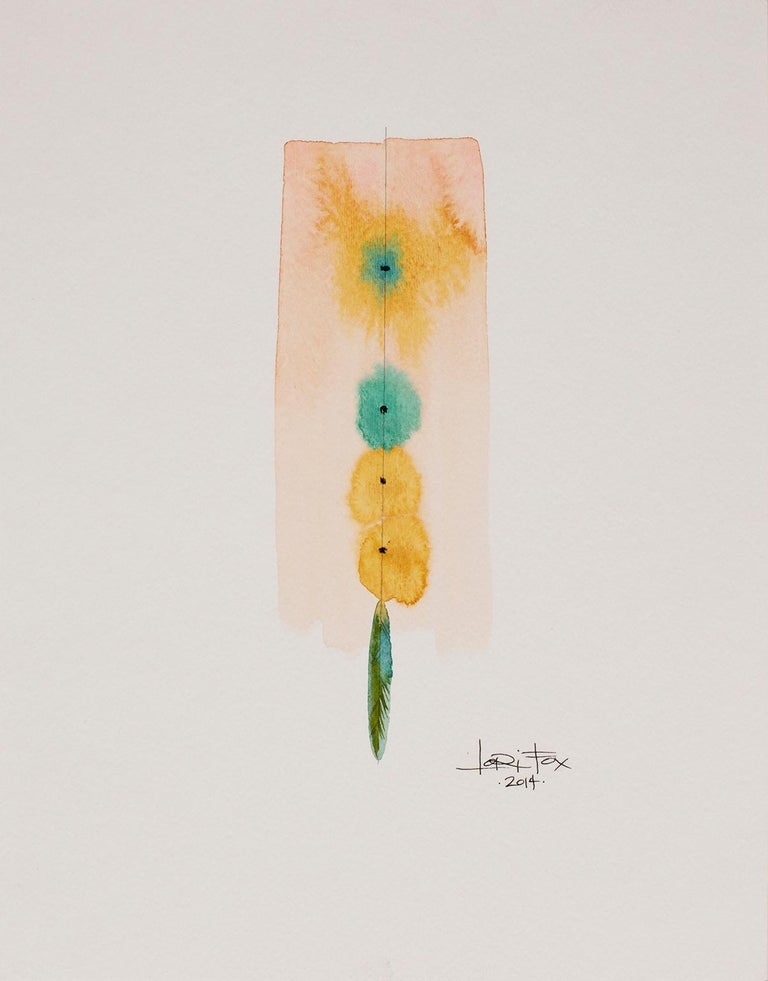 Totem 008, 2014 by Lori Fox Watercolor and graphite on paper.  14 x 11 inch unframed.   Framed size is 15.25 x 12.25 x 1.75 inch (ask about framed price) Coral pink, yellow, light blue and touch of green make this original from the Totem series by
