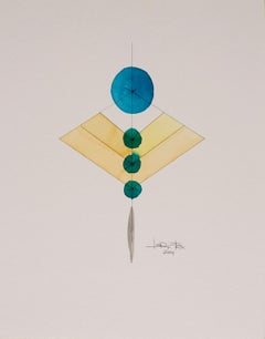 Totem 2.004 by Lori Fox. Abstract yellow, blue, green and black watercolour