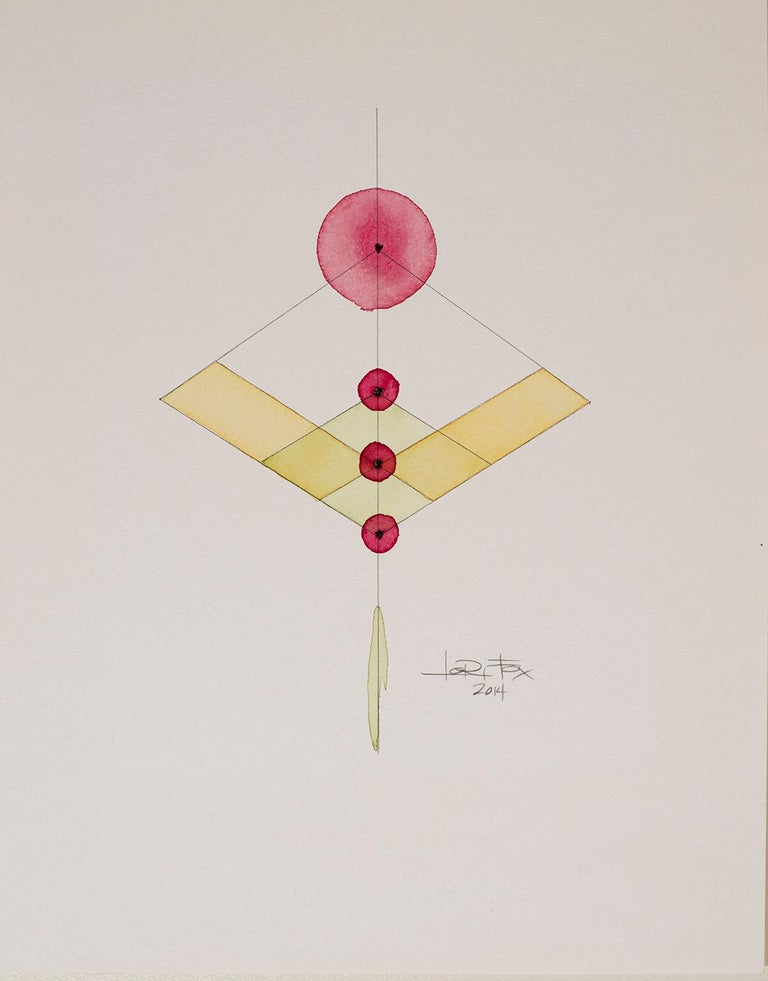 Totem 2.008, 2014 by Lori Fox Watercolor and graphite on paper.  14 x 11 inch unframed.   Framed size is 15.25 x 12.25 x 1.75 inch (ask about framed price) Yellow, red and black colors make this original from the Totem series by Lori Fox.   Totem: