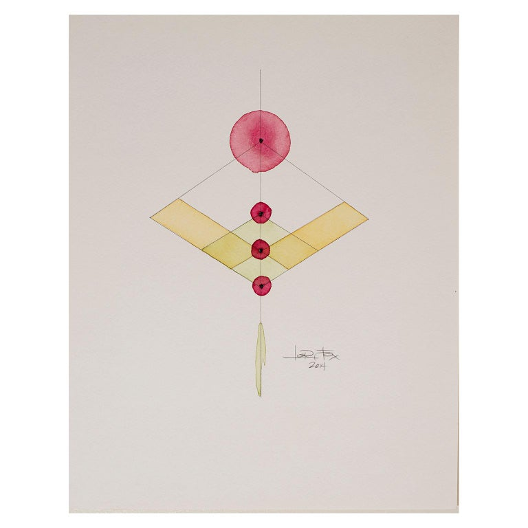 Totem 2.008 by Lori Fox. Abstract geometric yellow, red watercolour on paper For Sale 1