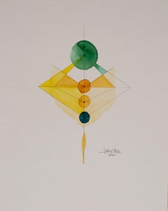 Totem 2.009 by Lori Fox. Abstract green, yellow and blue watercolour on paper