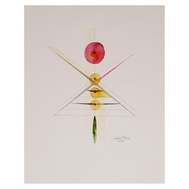 Totem 2.011 by Lori Fox. Abstract red, yellow and green watercolour on paper For Sale 1