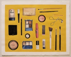 Every Beauty Product I Used Today 3. Yellow background, bright, everyday objects