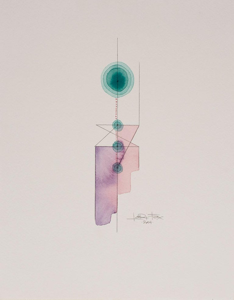 Totem 3.001, 2014 by Lori Fox Watercolor and graphite on paper.  14 x 11 inch unframed.   Framed size is 15.25 x 12.25 x 1.75 inch (ask about framed price) Light purple, pink and teal colors make this original from the Totem series by Lori Fox.