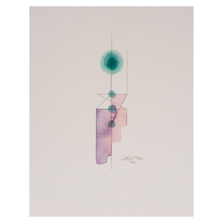 Totem 3.001 by Lori Fox. Light purple and teal colors. Contemporary Abstract For Sale 1