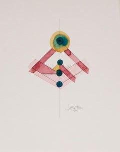 Totem 3.002 by Lori Fox. Red, Pink, Blue, Yellow gold, Teal watercolor on paper