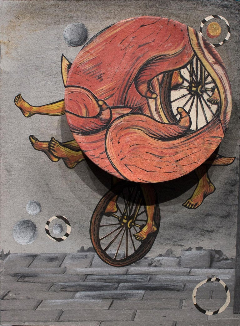 Try Not to Fall, Just Go II. Surrealism with a spinning wheel by Courtney Googe - Print by Courtney Nicole Googe