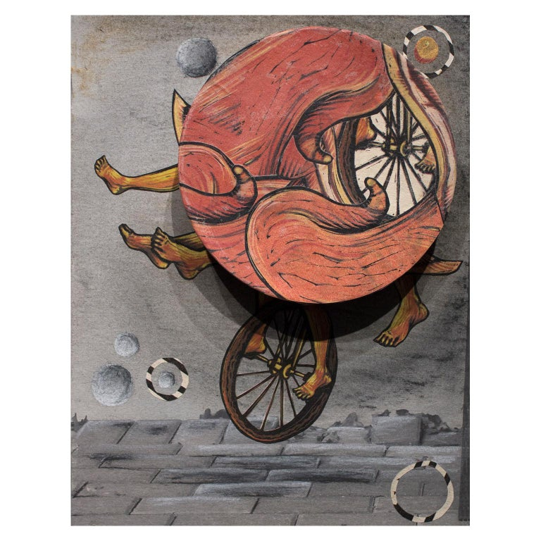 Try Not to Fall, Just Go II. Surrealism with a spinning wheel by Courtney Googe For Sale 1