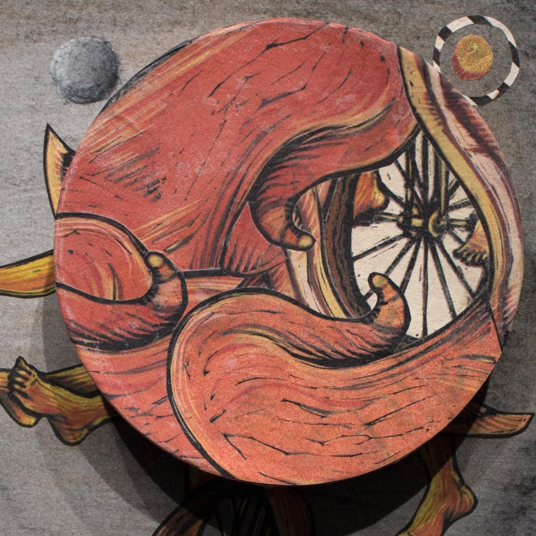 Try Not to Fall, Just Go II. Surrealism with a spinning wheel by Courtney Googe For Sale 2