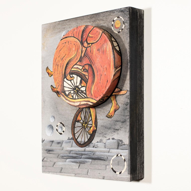 Try Not to Fall, Just Go II, by Courtney Nicole Googe, 2018 Oil-based ink, inkjet, charcoal, Lokta paper, Masa paper, bookboard, glue, plastic, metal, ball-bearings, wood panel 9 x 12.25 x 2.75 inch. Original.  Courtney Nicole's Spin showcases a