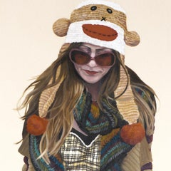 Courtney Walking - Monkey Hat. Contemporary pop portrait oil paint on raw canvas