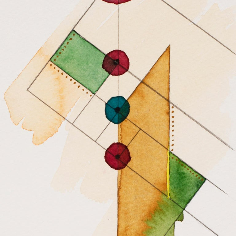 Totem 3.004. Abstract architectural forms Watercolor, pencil, oil pastel. Yellow - Abstract Geometric Art by Lori Fox