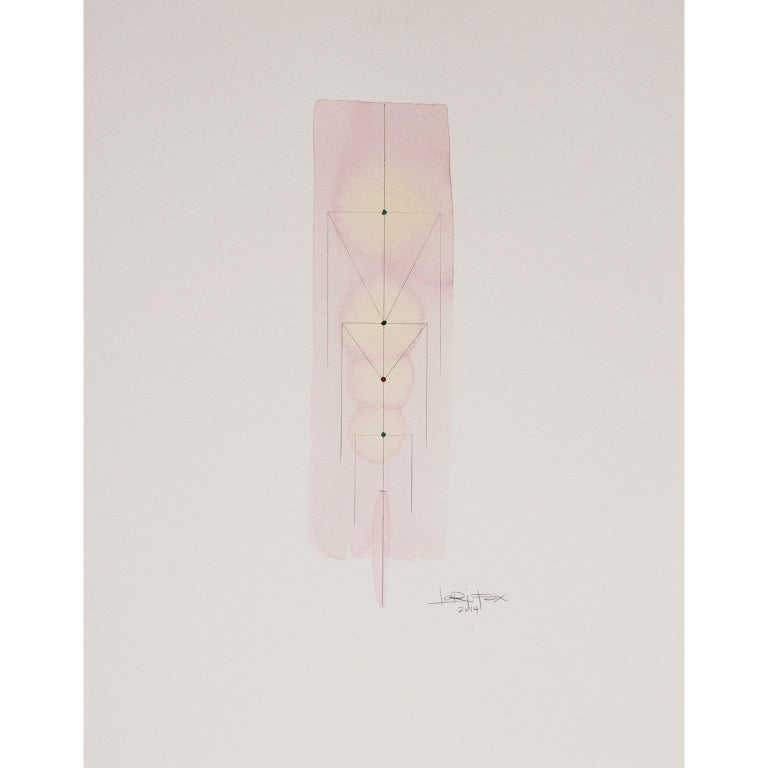 Totem 5.003. Abstract architectural forms Pink and coral watercolor and pencil - Abstract Geometric Art by Lori Fox