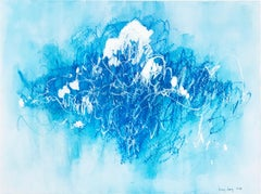 Blue Scratches. Abstract expressionist. Blue pastel hues on paper by Bang Dang