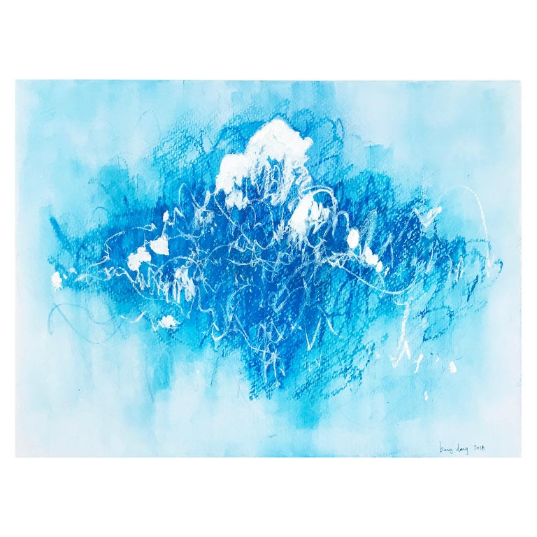 Blue Scratches. Abstract expressionist. Blue pastel colors on paper by Bang Dang For Sale 3