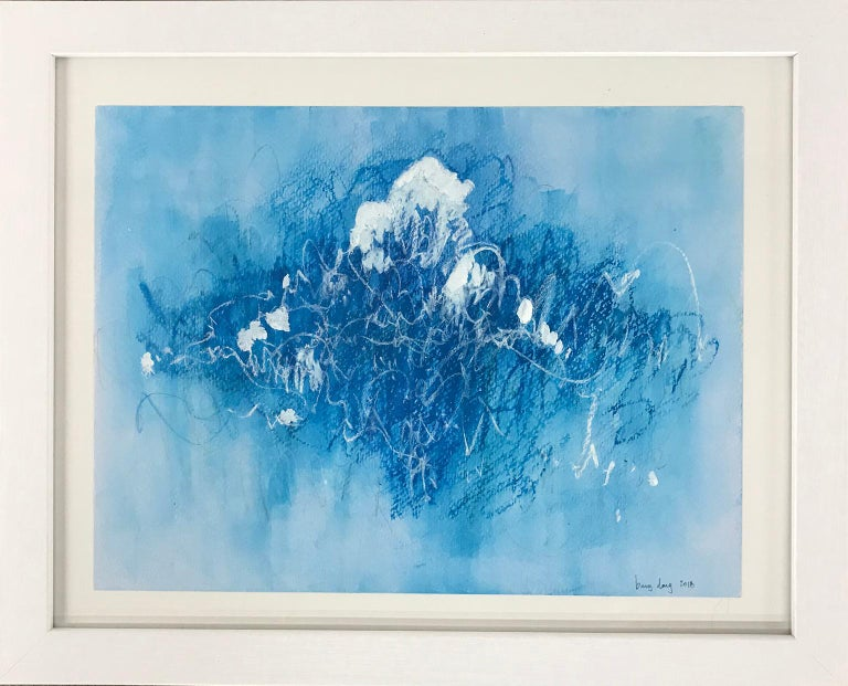 Blue Scratches. Abstract expressionist. Blue pastel colors on paper by Bang Dang For Sale 5