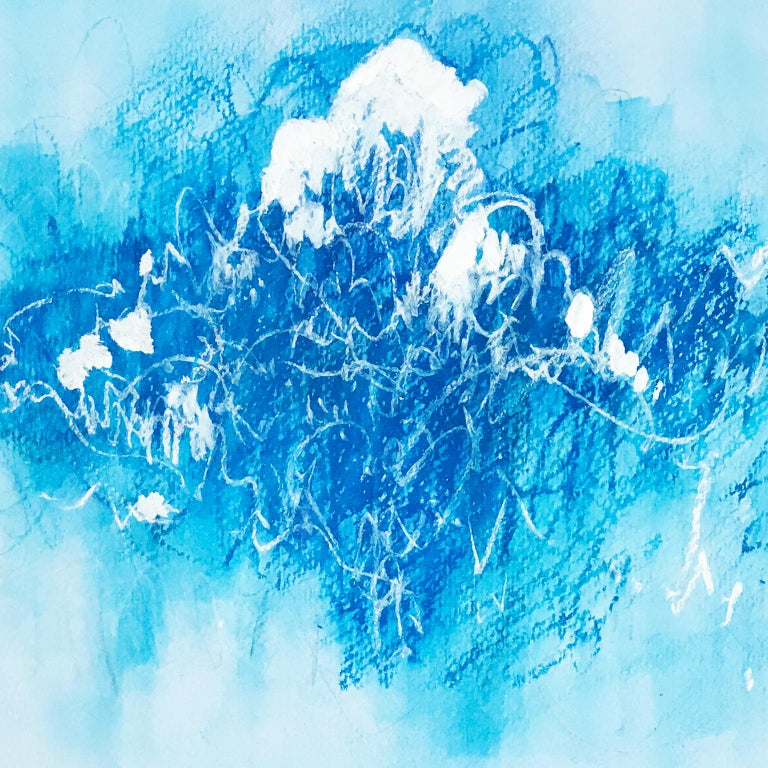 Blue Scratches. Abstract expressionist. Blue pastel colors on paper by Bang Dang For Sale 1