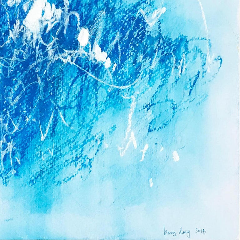 Blue Scratches. Abstract expressionist. Blue pastel colors on paper by Bang Dang For Sale 2