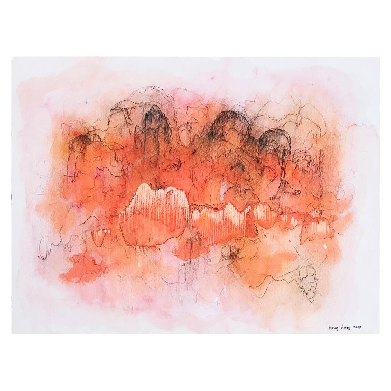 Orange Cloud 1. Abstract mixed media on paper by Bang Dang. Orange coral & black For Sale 1