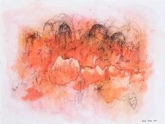 Orange Cloud 1. Abstract mixed media on paper by Bang Dang. Orange coral & black
