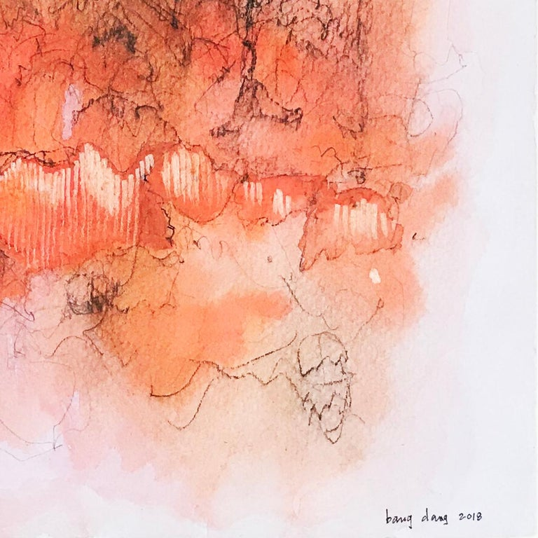 Orange Cloud 1. Abstract mixed media on paper by Bang Dang. Orange coral & black For Sale 3