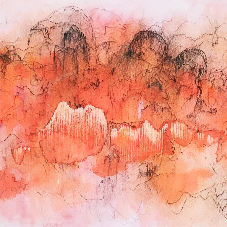Orange Cloud 1. Abstract mixed media on paper by Bang Dang. Orange coral & black For Sale 2