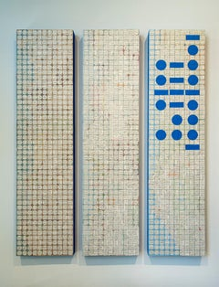territory by Ann Chisholm. paper on wood. Morse code with blue and white dots