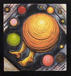 Orbiting Acceptance I by Courtney Nicole Googe. Pastels on black. Original print