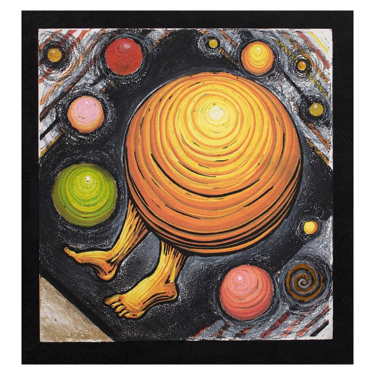 Orbiting Acceptance I by Courtney Nicole Googe. Pastels on black. Original print For Sale 1