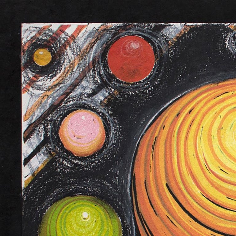 Orbiting Acceptance I by Courtney Nicole Googe. Pastels on black. Original print For Sale 4